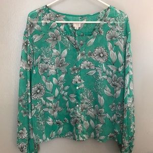 A new day sheer button up floral blouse Size M